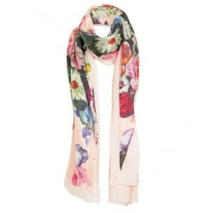 Ted Baker oil painting split pink floral scarf